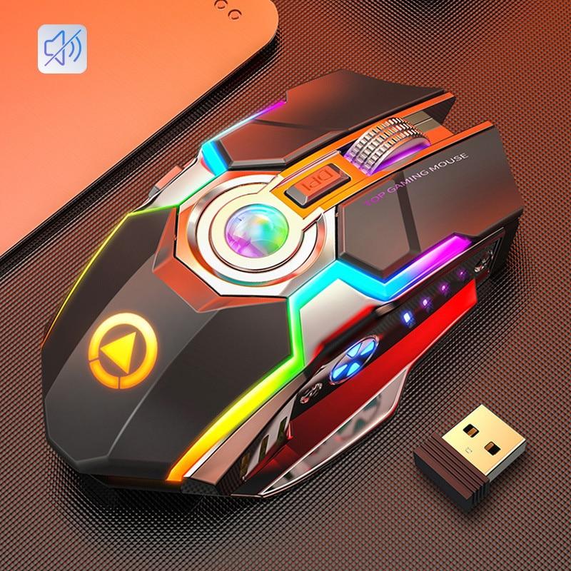 2020 перезаряжаемая Беспроводная Бесшумная светодиодный компьютерная мышь с подсветкой USB оптическая эргономичная игровая мышь PC мышь для ноутбука Мыши      АлиЭкспресс