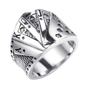 Панк прямое кольцо для покера, готический Бог азартных игр, перстень для мужчин и женщин, индивидуальное кольцо для покера, ювелирное издели...