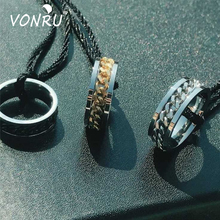 VONRU One Ring Stainless Steel Rings Titanium Chain Can Be Rotating Ring For Men Women Popular Punk Style Fashion Jewelry punk style titanium steel circle ring for men