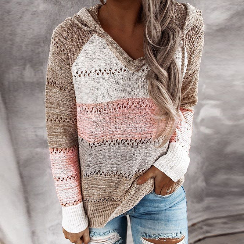 Women's V-Neck Patchwork Hooded Sweater