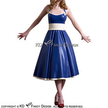 Голубое и белое сексуальное латексное платье с бантиками шнуровка