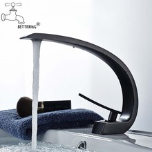 Basin Faucets Black Taps Bathroom Mixer Sink Crane Brass Chrome Modern Deck-Mount Elegant