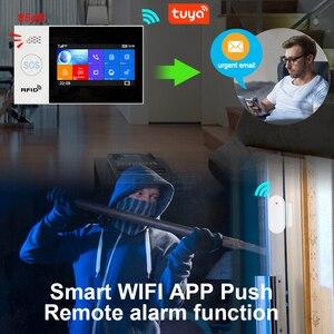 Image 2 - Awaywar Tuya WIFI GSM home Security smart Alarm System Burglar kit  touch screen compatible with Tuya IP Camrea