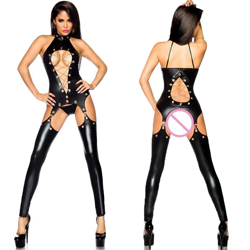 Bayan seksi siyah PVC içi boş Out Faux deri lateks Zentai Catsuit Wetlook tulum erotik iç çamaşırı PU Bodysuit gece elbisesi tulum
