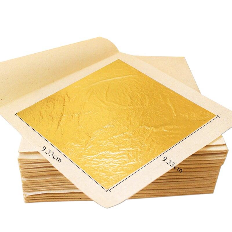 เอดดัลไวส์ทองฟอยล์ทองจริง 100PCS 9.33x9.33 ซม.สำหรับเค้กกินได้ตกแต่งหน้ากากใบหน้าศิลปะหัตถกรรมกระดาษ 24K Gold Leaf Gilding-ใน กระดาษคราฟต์ จาก บ้านและสวน บน   1