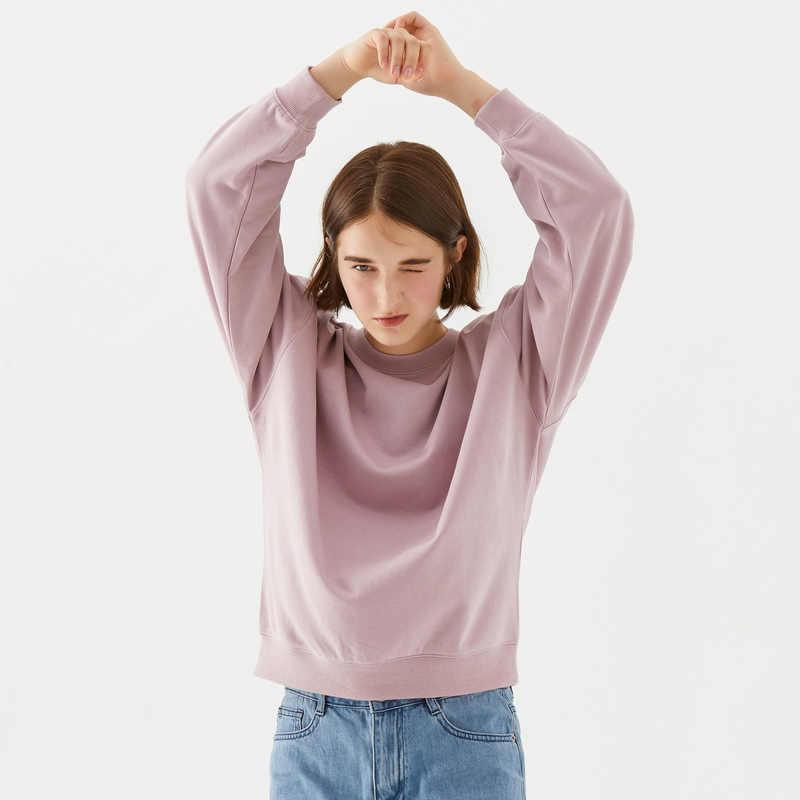 Metersbonwe Dasar Hoodies untuk Wanita Streetwear Wanita Musim Semi Musim Gugur Warna Solid Hoodie Kasual Sweatshirt Baru Hip Pop Tops
