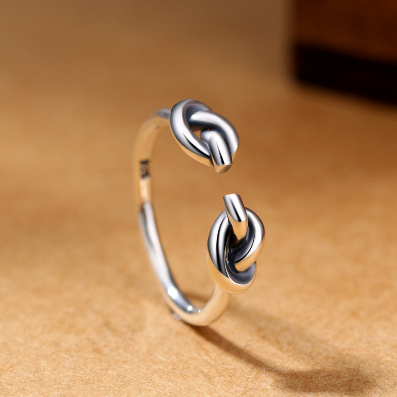 925 Sterling Silver Creative Retro Double Knot Ring Women And Men  Simple Thai Silver Opening Ring Fine Jewelry
