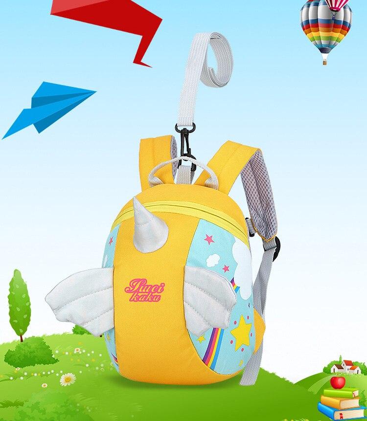 Nylon Fabric Panelled Preschool Backpack Baby Girls Mini Unicorn School Bags for Toddler Kids Cute Cartoon Casual Back Pack Blue (1)