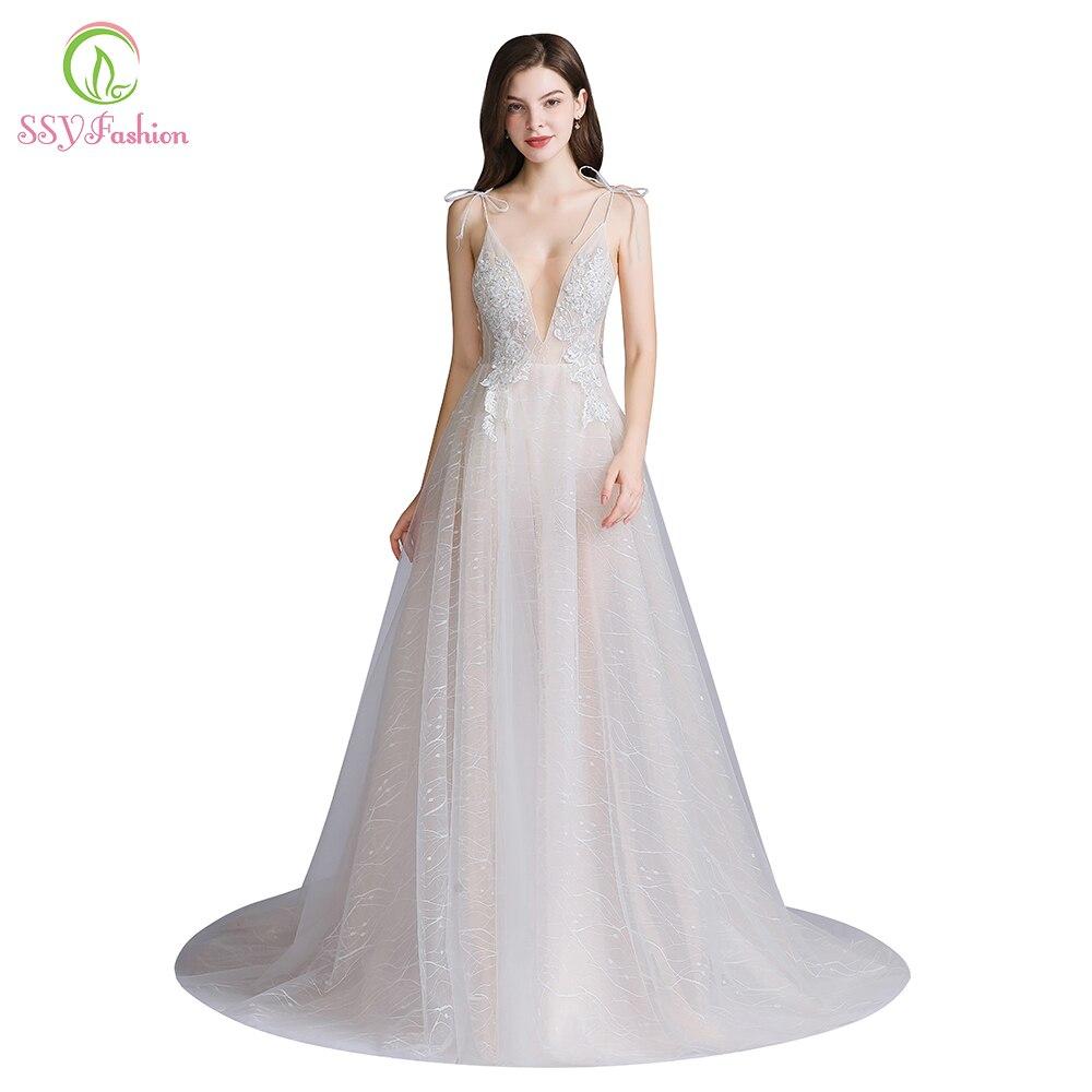 SSYFashion New Sexy Long Evening Dress Deep V-neck Sleeveless Backless Lace Flower Beach Prom Formal Gown Vestido De Fiesta