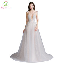 SSYFashion New Sexy Long Evening Dress Deep V-neck Sleeveless Backless Lace Flower Beach Prom Formal Gown Vestido De Fiesta(China)