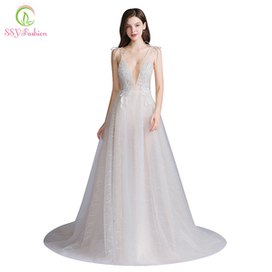 Image 1 - SSYFashion New Sexy Long Evening Dress Deep V neck Sleeveless Backless Lace Flower Beach Prom Formal Gown Vestido De Fiesta