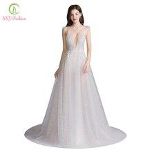 SSYFashion חדש סקסי ארוך שמלת ערב עמוק צווארון V שרוולים ללא משענת תחרה פרח חוף נשף פורמליות שמלת Vestido דה פיאסטה
