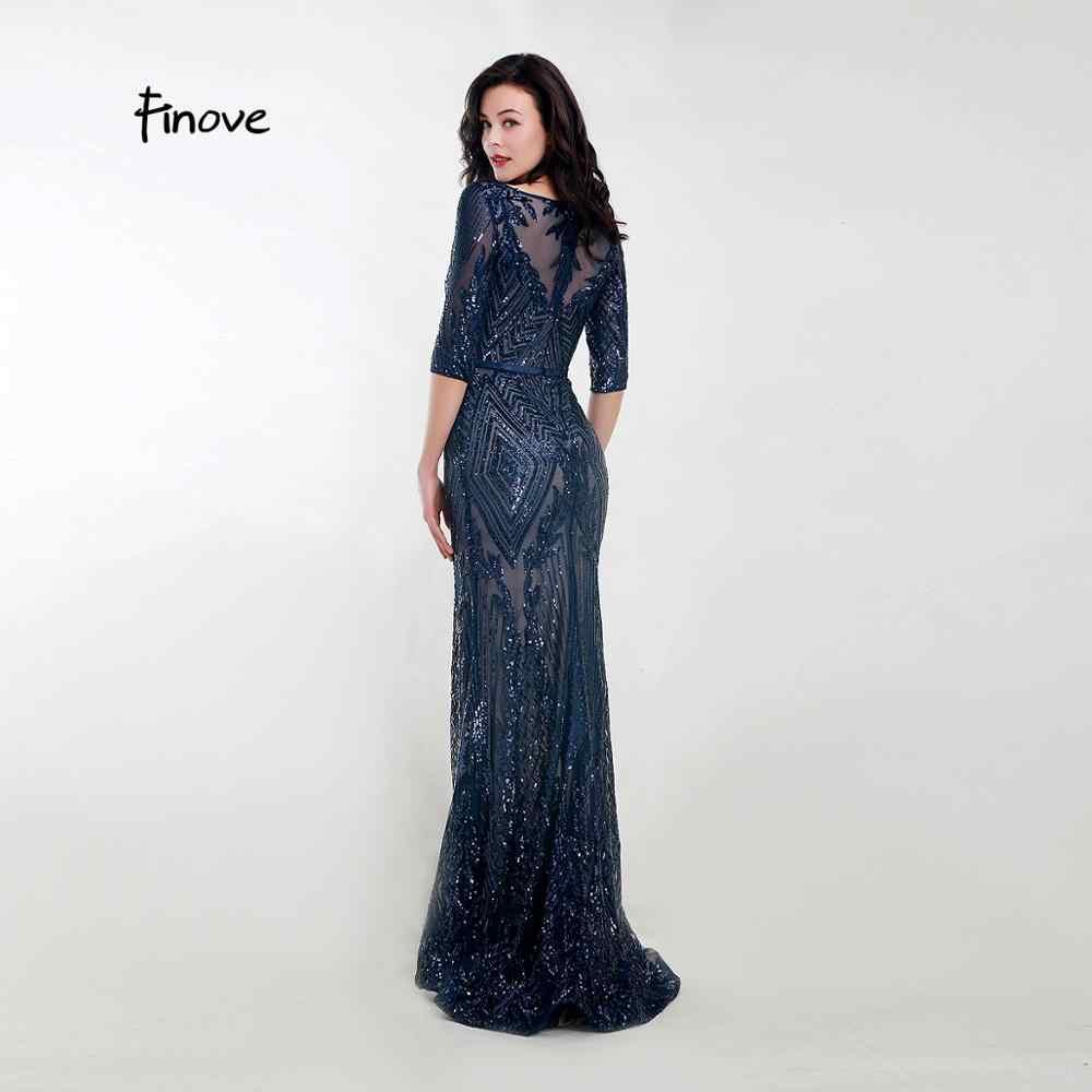 Finove Elegante Abendkleid Lange 10 Dark Blue Sparkle Pailletten Halbarm  Formal Meerjungfrau Kleid Für Frauen robe de soiree
