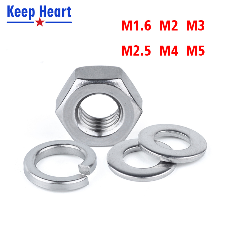 M1.6 M2 M3 M4 M5 Stainless Steel Screws Set Hex Nut Round Flat Washer Gasket Round Spring Washer Gasket