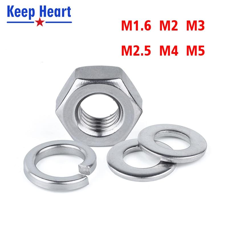 M1.6 M2 M3 M4 M5 Stainless Steel Screws Set Hex Nut Round Flat Washer Gasket Round Spring Washer Gasket