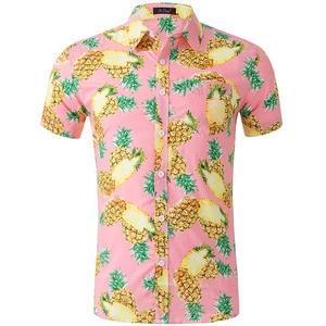 Shirts Men Blouse Dress Short-Sleeve Holiday Printed Casual Cotton Fashion Beach Summer