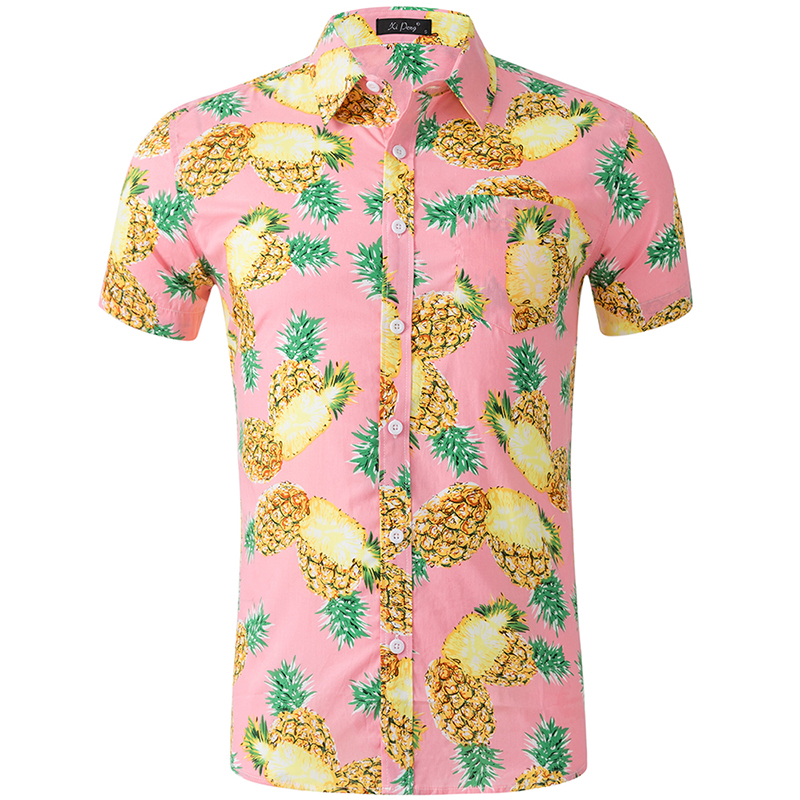Shirts Men Dress Summer Beach Holiday Clothing Fashion Printed Cotton Chemise Short Sleeve Casual Hawaiian Shirt Blouse