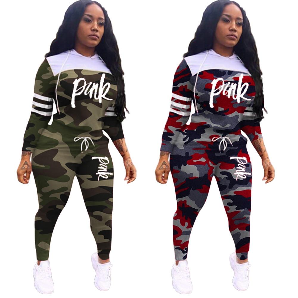 Casual Pink Letter Print Tracksuit Women Two Piece Set Hoodies Tops Pants Sweatshirt Pant Suit Jogging Set Outwear