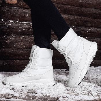 Women #8217 s snow boots plus velvet long cotton shoes Winter warm women #8217 s boots women boots 2019 tanie i dobre opinie Vieruodis Cotton Fabric Połowy łydki Szycia Stałe 1918 Mieszkanie z Podstawowe Okrągły nosek Wiosna jesień RUBBER