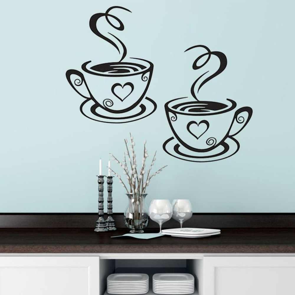 Новый дизайн наклейки пара кофейных чашек настенные наклейки сердечки форма виниловое настенное украшение для столовой съемное украшение кафе
