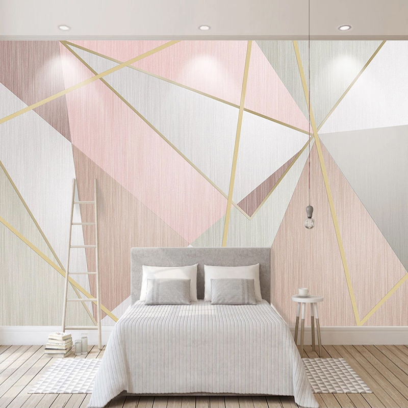 Custom Photo Mural Home Decor Pink Triangle Geometric Pattern Living Room Sofa TV Background Non-woven Wallpaper Wall Painting