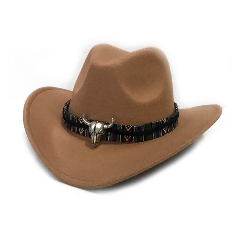 Western Cowboy Hat With Cow Head Band Wide Brim Hat Pop Size 56-58CM For Fashion Men Women Jazz Caps