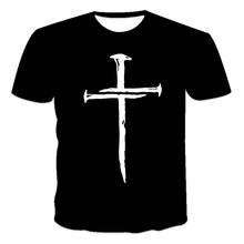 r best-selling new men's T-shirt loose clothes retro short-sleeved fashion cross  O-neck men's T-shirt pattern printing