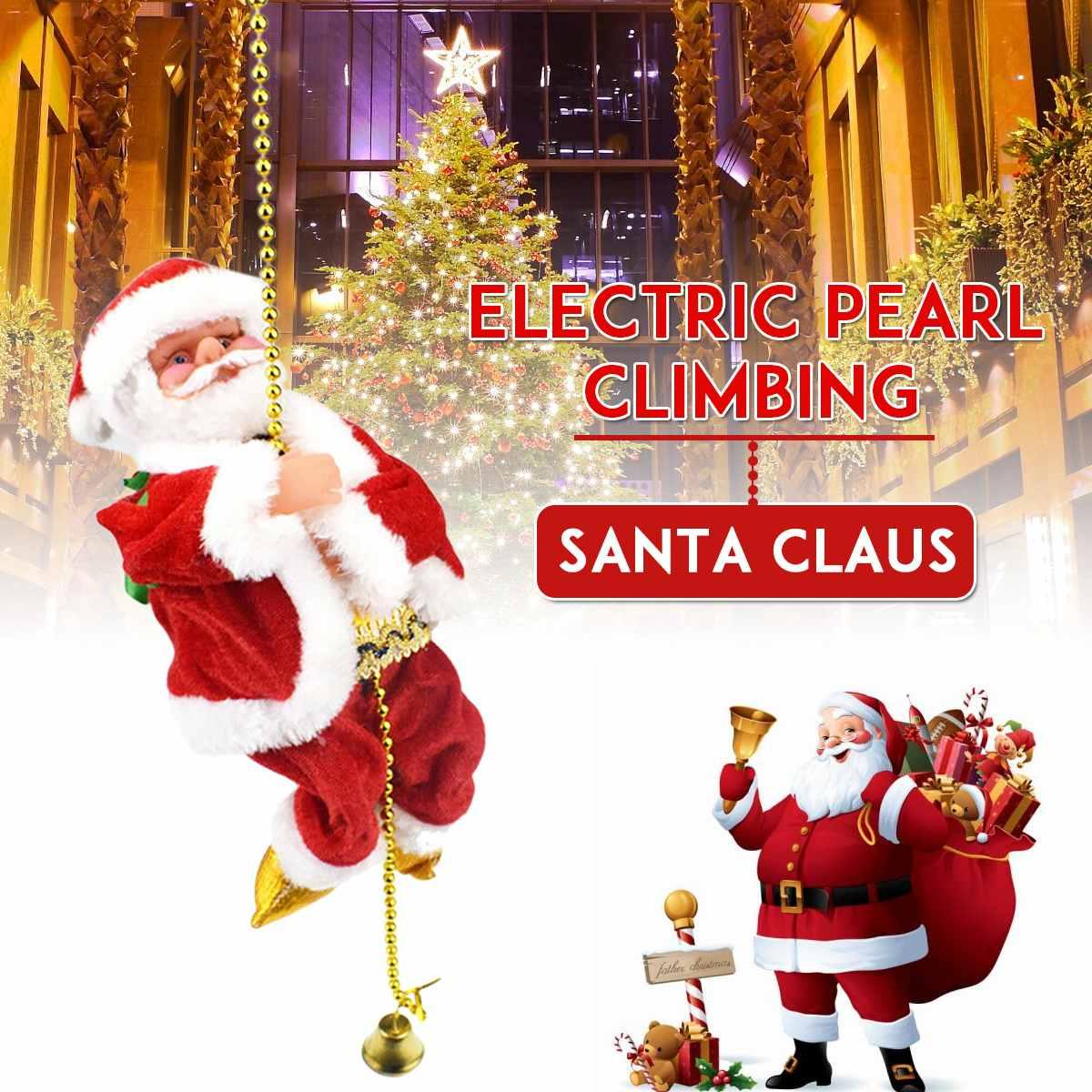 US Electric Santa Claus Climbing Rope Christmas Xmas Funny Plush Toy Decor Gift
