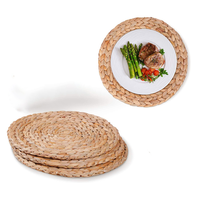 4pcs Woven Placemats Wicker, Table Placemats For Round Tables