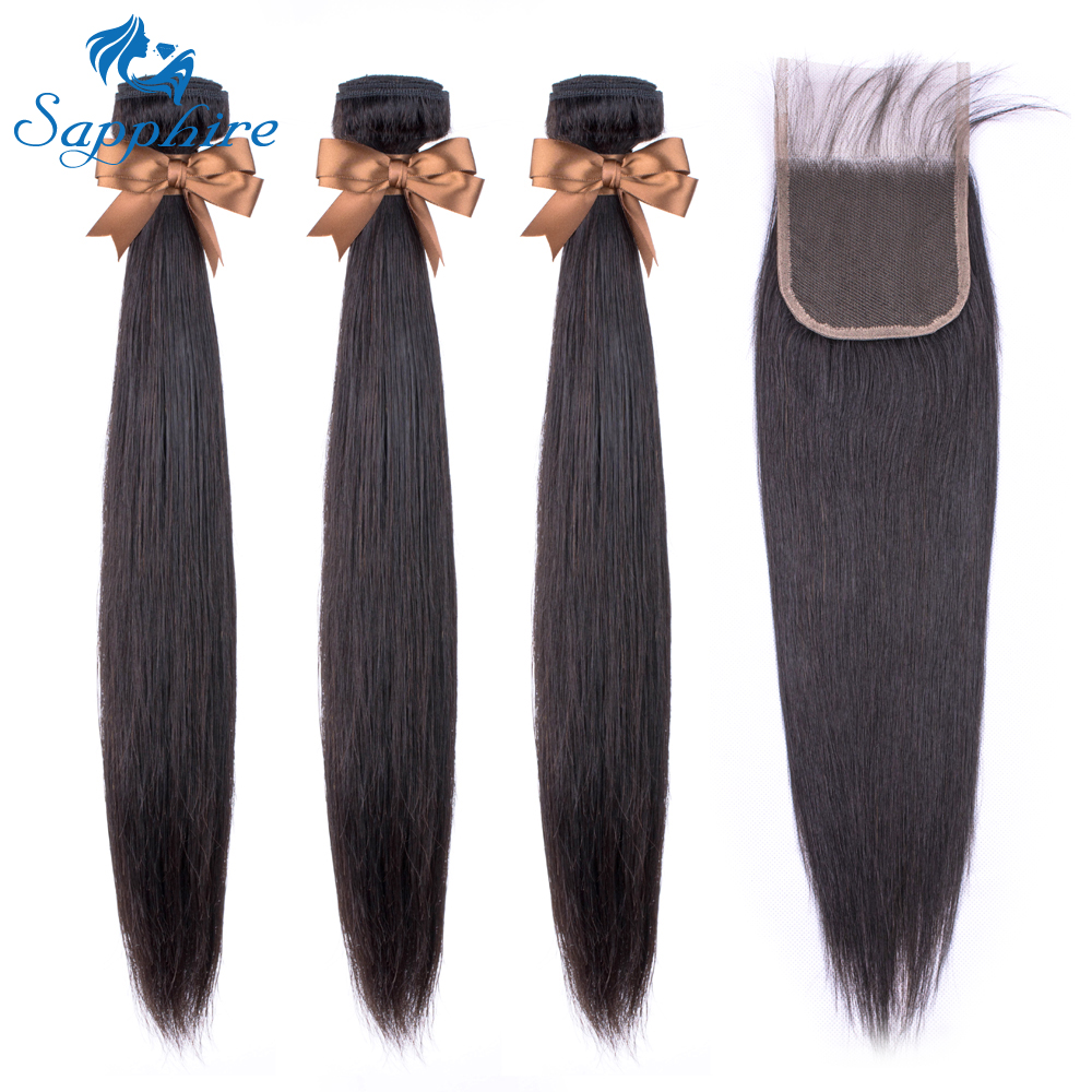 Sapphire Brazilian Straight Human Hair Bundle With Closure 3 Bundles With Closure  Natural Brown NonRemy Human Hair Extension