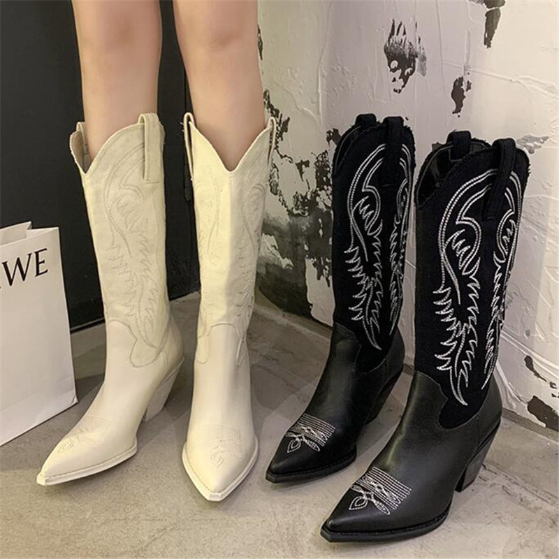 2021 INS Winter Women Beige High Heels Wedges Long Boots Vintage Embroidered Knee Thigh High Boots Designer Riding Cowboy Boots