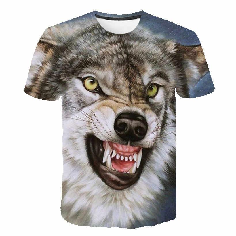 2019 最新 3D 印刷ウルフ tシャツの男性と女性半袖夏シャツ Tシャツ動物 Tシャツファッションカジュアル Tシャツ