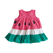 Summer Baby Kids Girl Cotton Sleeveless Dress Cute Solid Color Cartoon Watermelon Pattern Comfortable Breathable