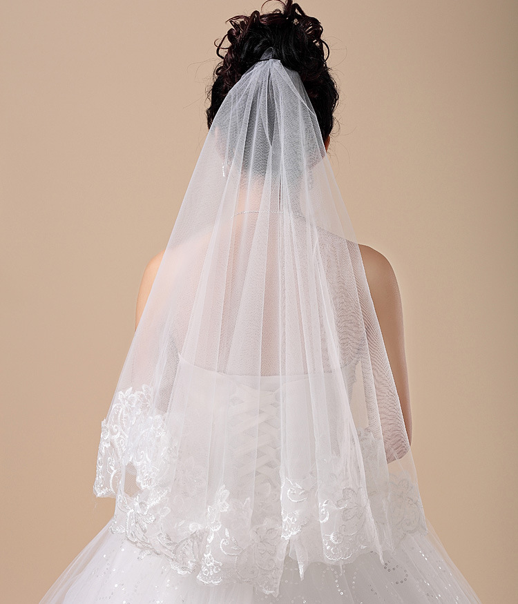 Elegant Short Wedding Veils With Lace Applique White Ivory One Layer Bridal Veil 150cm Velo De Novia Largo