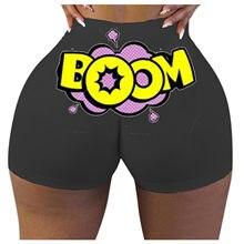 Cintura alta yoga calções de desporto hip push up feminino impressão engraçado macio shorts de fitness corrida butt lift workout gym shorts