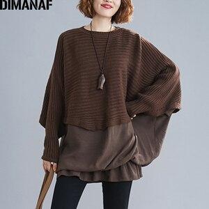 Image 1 - DIMANAF Oversize jesień kobiety sweter na drutach swetry topy Plus rozmiar kobiet dama mody na co dzień Batwing rękaw podstawowe odzież