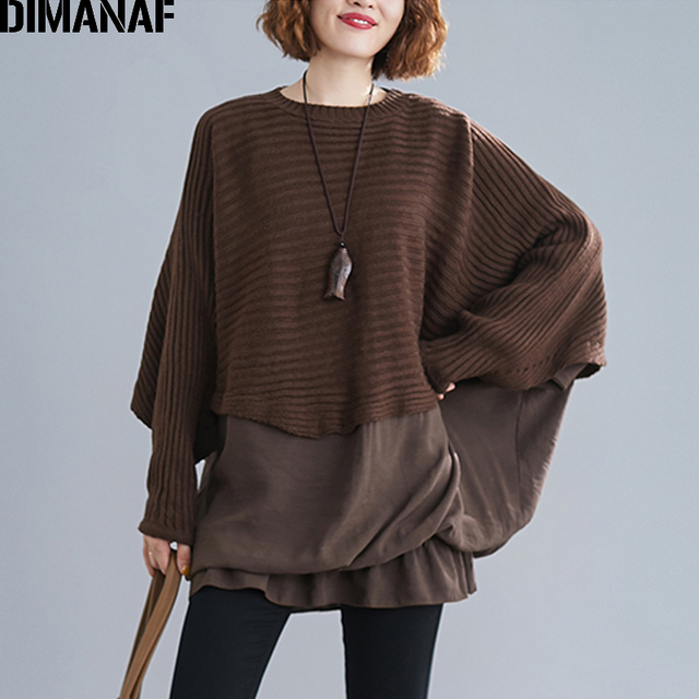 DIMANAF Oversize jesień kobiety sweter na drutach swetry topy Plus rozmiar kobiet dama mody na co dzień Batwing rękaw podstawowe odzież