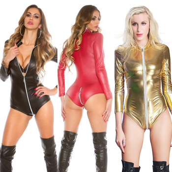 Sexy Patent Leather Bodysuits Hot Erotic Leotard Costumes Women Open Crotch One Piece Latex Catsuit Sexy Night Clubwear XXXL sexy women wetlook patent leather halter neck fishnet see through bust zipper crotch one piece leotard bodysuit christmas linger