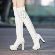 zapatos de mujer shoes woman new fashion boots Fashion Womens Leather Lacr-Up Round Toe Shoes High Heel Over The Knee Boots(China)