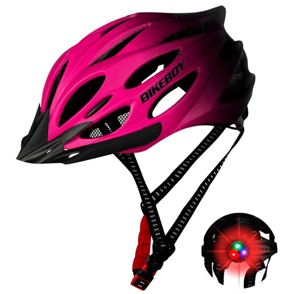 Unisex Cycling Helmet with Light Bike Ultralight Helmet Intergrally-molded Mountain Road bike Bicycle MTB Helmet Safe Men Women