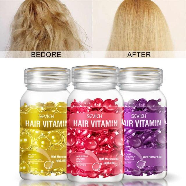 Sevich 3PCS/Sets Damaged Repair Keratin Complex Vitamin Capsule Hair Oil Smooth & Silky  Hair Serum Moroccan Oil Hair Care Produ 1