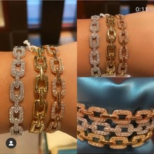 Janekelly designer Top accessories fashion unique Rope Chain bangle AAA zircon micro pave hand bracelet