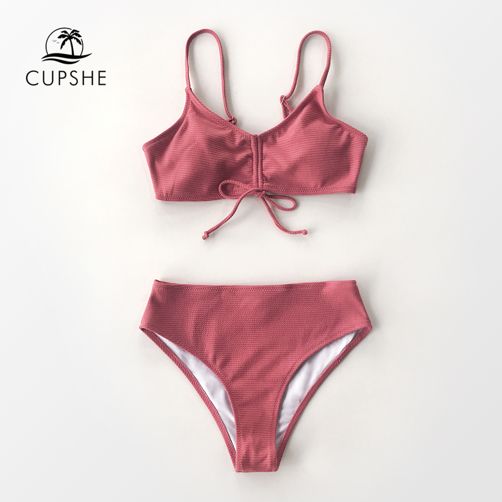 CUPSHE Solid Pink Textured Lace Up Bikini Sets Sexy High-cut Swimsuit Two Pieces Swimwear Women 2020 Beach Bathing Suits