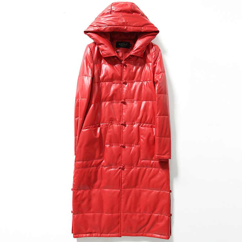 Autunno Inverno Anatra Imbottiture Caldo reale giacca di pelle genuino delle donne di pelle di Pecora in pelle lungo trench con cappuccio cappotti chaqueta mujer