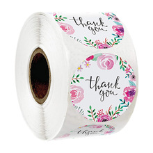 500Pcs Round Flower Thank You Stickers Seal Label with Pink Sticker Rolls for DIY Envelope Scrapbooking Stationery Sticker Paper