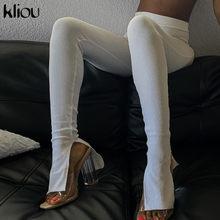 Kliou – legging taille haute pour femme, côtelé, décontracté, couleur unie, slim, mode, fendu, sport, entraînement, streetwear, vêtements actifs, automne 2020