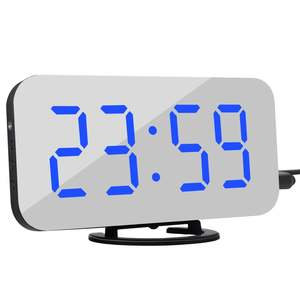 Alarm-Clock Desk Led-Table Time Digital Night for iPhone Androd 2-Usb Charge-Ports Snooze-Display