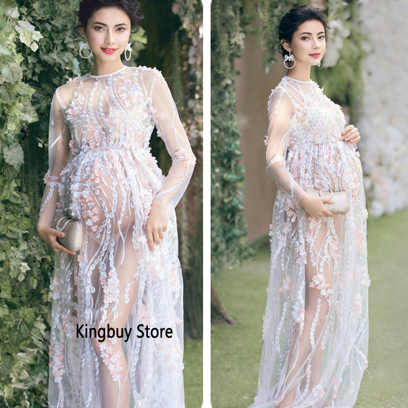 Floral Full Sleeve Pregnancy Dress Studio Shoot Clothes Photo Props Women Photography Props Lace Luxury Maternity Dresses Aliexpress