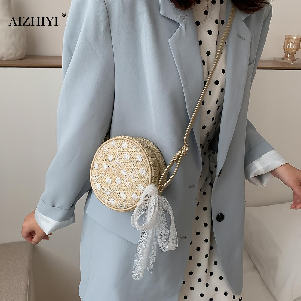 Elegant Straw Lace Round Shoulder Bags Women Casual Vintage Crossbody Messenger Bags For Fahion Summer Beach Vacation
