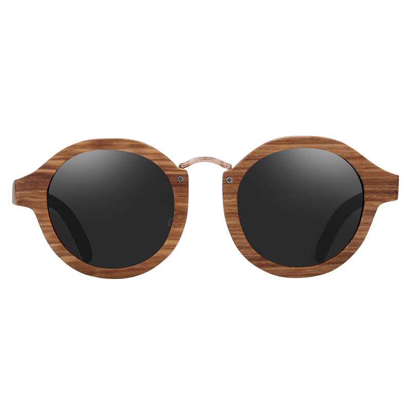 BARCUR Polarized Sunglasses Wood Round Men Women BC7104